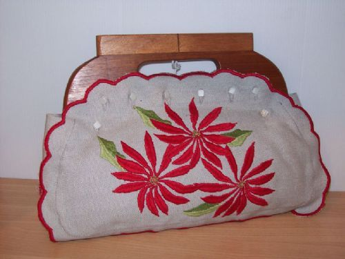 c1950s Hand Made and embroidered with wooden handles