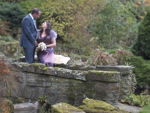 Bride and groom, relaxed.