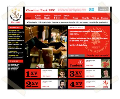 Charlton Park Rugby Football Club website