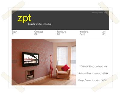 Zero Point Two bespoke furniture and interiors website