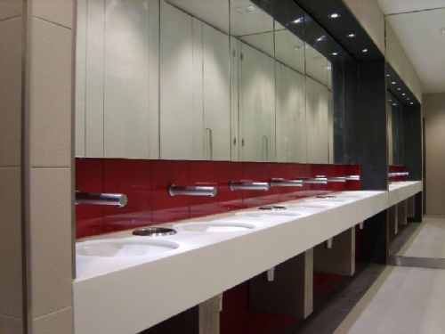 BBC Media City Salford Quays, 26 Male & Female Toilets In Red Glass & Mirrors.