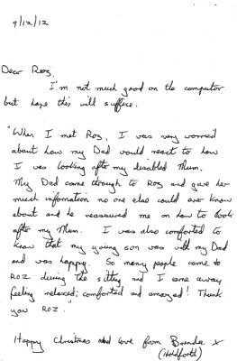One of Roz's latest written reviews (Dec 2012) from the lovely Brenda (Burgess Hill)