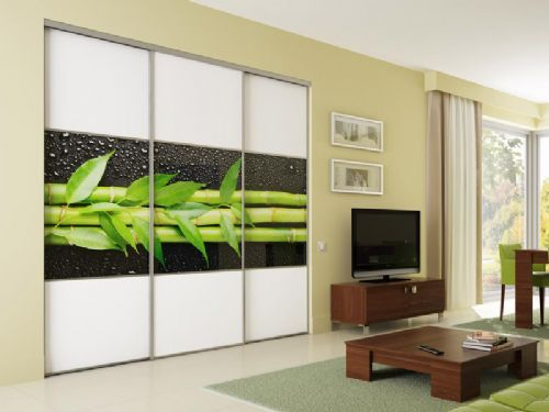Art Glass Bamboo Sliding Wardrobe