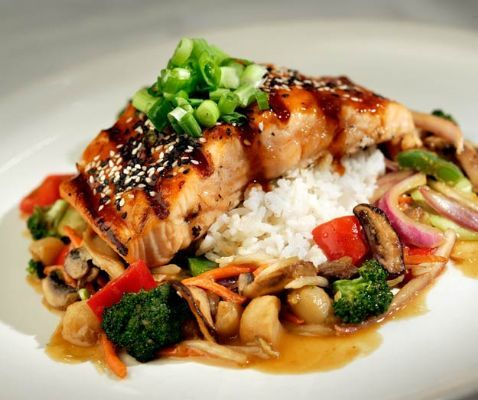 Honey Soy Salmon with Mixed Vegetables 'JQ Fusion' Style