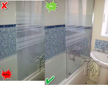 Cleaning shower glass.