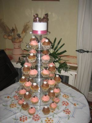 Cupcake tower for a wedding - topped with a Mr and Mrs Bear!