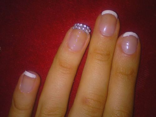 French Mani + Rhinestone Diamante Tip
