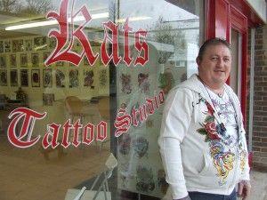 Kat Stevens outside Kat's Tattoo Studio
