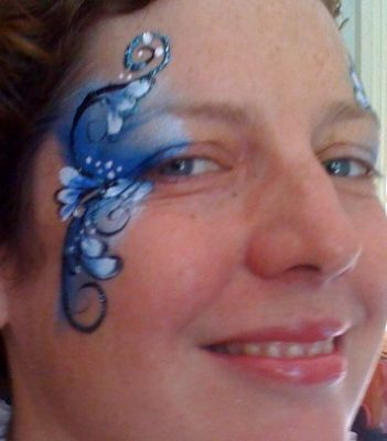 Celestielle Paint face painted blue design