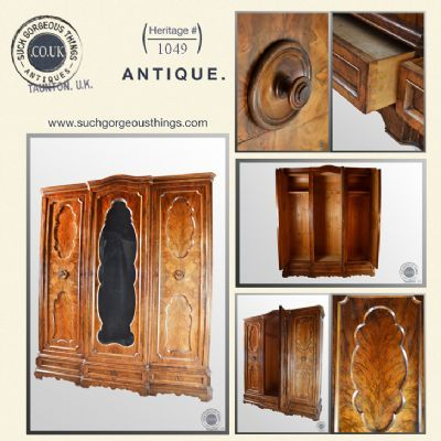 Antique Walnut Triple Wardrobe