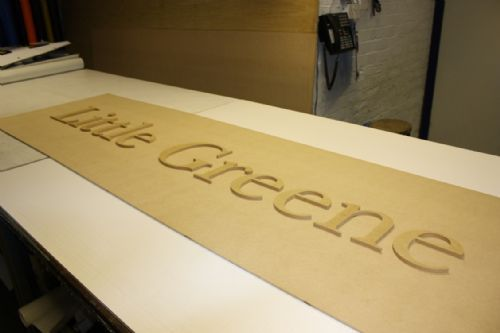 Letters cut from MDF using CNC router