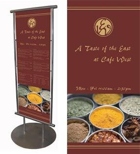 Graphic core swansea floor stoppers, signage, menu design and print