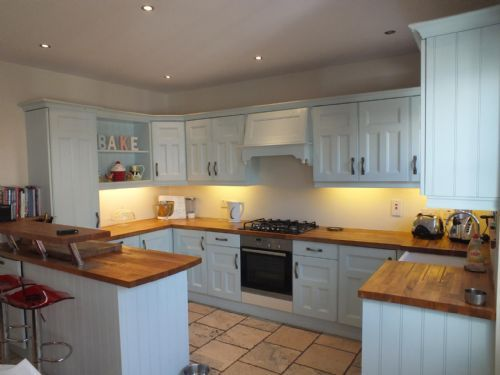 Hand painted kitchen with solid oak worktops