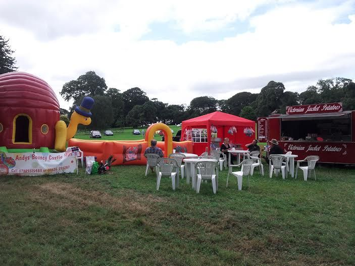 Mobile catering candy floss bouncy castle and play area.