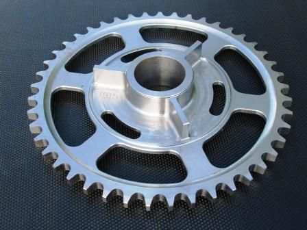Royal Enfield rear sprocket machined from solid EN8 bar. We made the flat type and also the dished type.