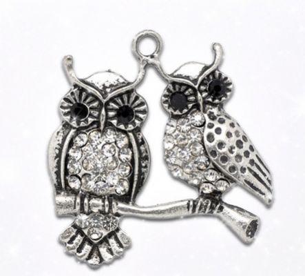 Rhinestone Owl Charm/Pendant