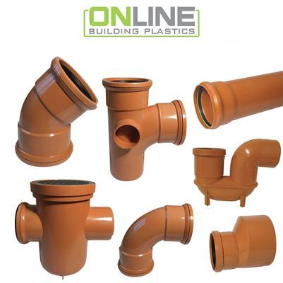 110mm Underground Drainage including single and double socket bends and pipes