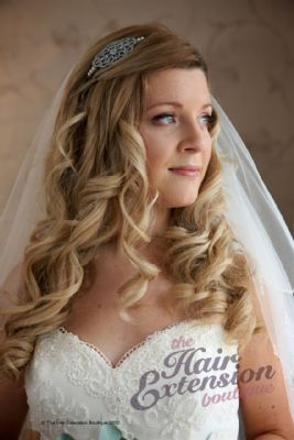 Stunning bride Elli - wearing 16 inch European hair extensions