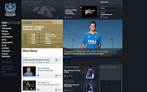 Portsmouth FC Website Screenshot