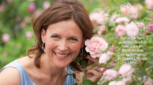 Kate Derham launches Peter Beales latest rose 'Dunham Massey' at Chelsea Flower Show.