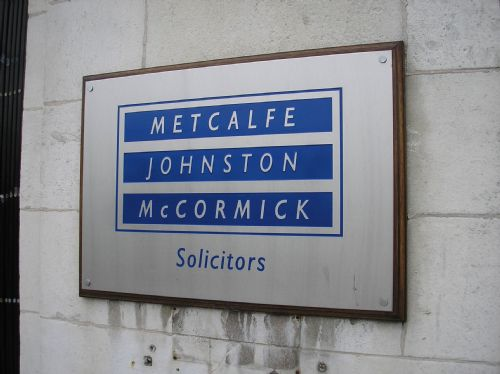 Engraved Stainless steel plate on wooden mount