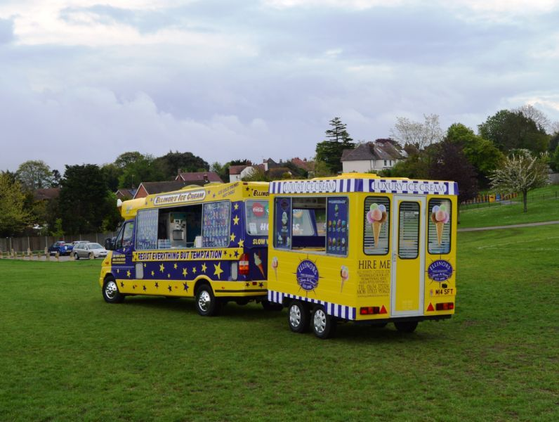 Ice cream trailer kiosk.