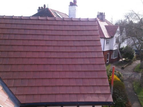Clay flanders 20/20 tile with angle capped ridge