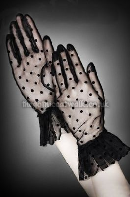 Black Spotted Wrist Gloves