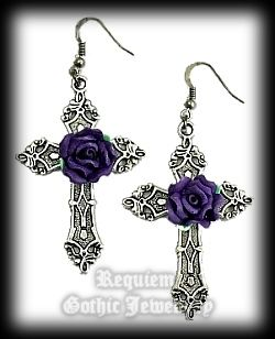 Purple Rose Cross Gothic Earrings
