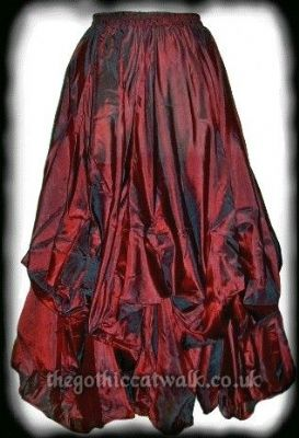 Long Red Polysilk Gothic Skirt