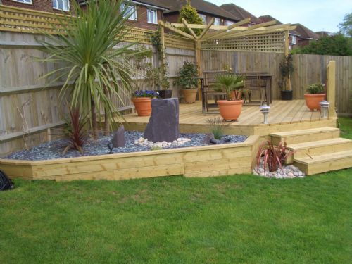 Goldstone services landscape gardener in lancing uk for Garden decking features