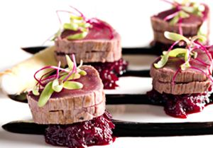 Beetroot and Venison taster canape - Catering Companies London