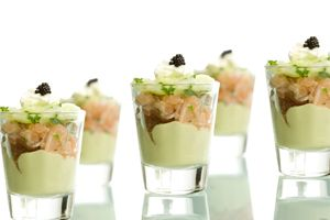 Salmon, avocado and shrimp cocktail. - Catering Companies London