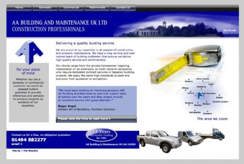Homepage for AA Building and Maintence - Graphic Designers High Wycombe