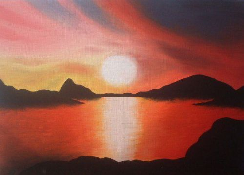 Red Sunset in oil paints - Artists Oswestry