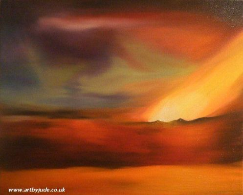 Volcanic Northern Lights in oils on 20