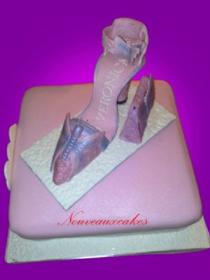A beautiful lilac butterfly shoe cake - Cake Designers Bromley