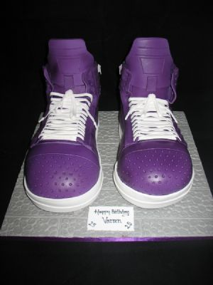 Purple High Top Trainers Cake - Cake Designers Bromley