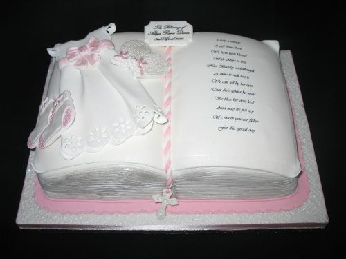 Christening Robe with Gloves & Booties Book Cake - Cake Designers Bromley