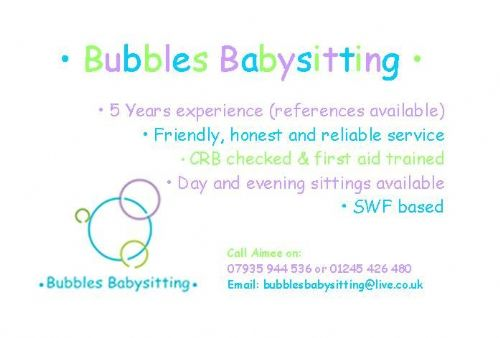 Bubbles Babysitting Babysitter in South Woodham Ferrers