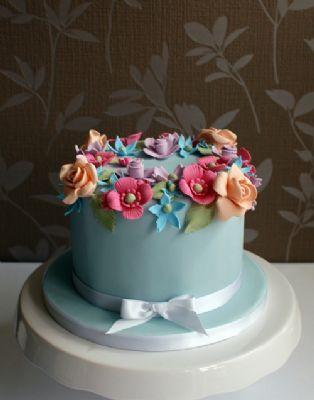 Single Tier Wedding Cake Blue