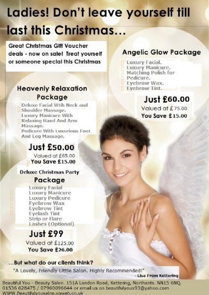Beautiful you beauty salon in kettering uk for Beauty salon xmas offers