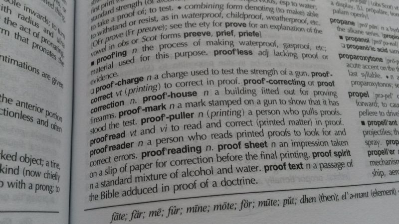 Proofread dictionary