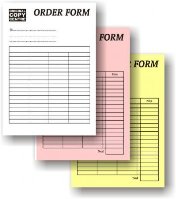 ... or 3-part carbonless order forms, receipts, bills, invoices, packing