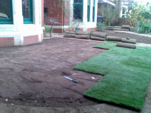 Mid way through turfing entrance of house. - Home and Garden Maintenance Companies Cardiff