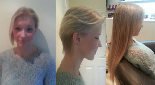 Micro ring extensions in short hair