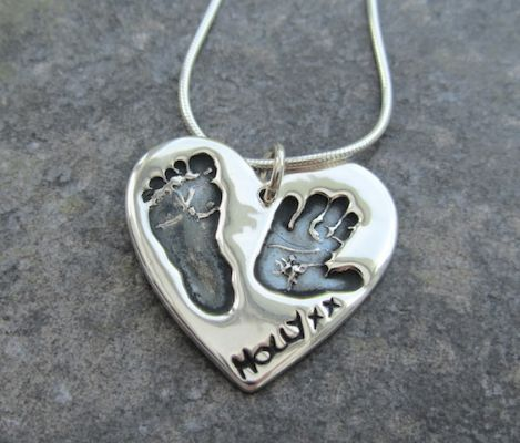 footprint on silver handprint jewellery heart hand necklaces necklace