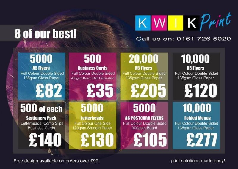 Kwik print manchester design and print service provider in little free uk delivery reheart Images