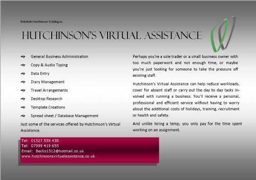 Hutchinson S Virtual Assistance Bromsgrove 3 Reviews