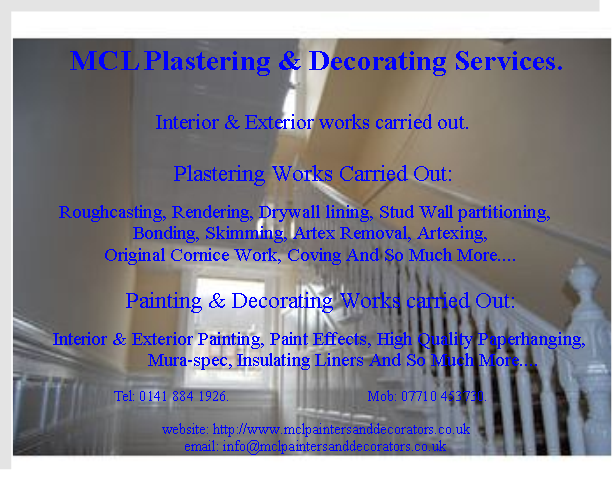Mcl Plastering Decorating Services Decorator In Paisley Uk